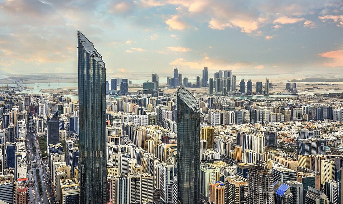 View of Abu Dhabi city, United Arab Emirates by sunset time; Shutterstock ID 455307778; Purchase Order: -